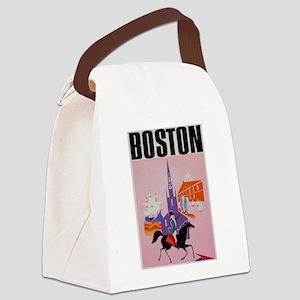 Vintage Boston MA Travel Canvas Lunch Bag