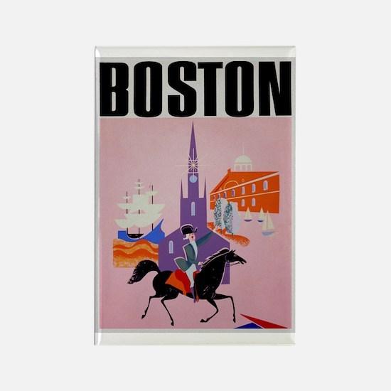 Vintage Boston MA Travel Rectangle Magnet
