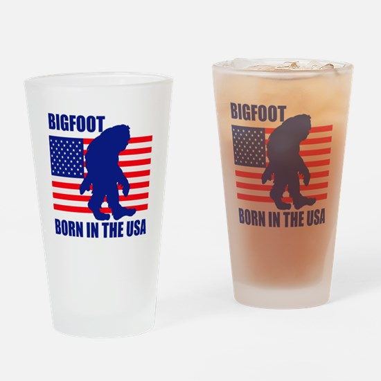 Bigfoot born in USA Drinking Glass