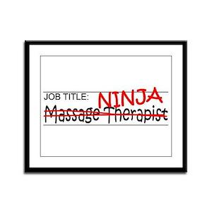 Job Ninja Massage Therapist Framed Panel Print