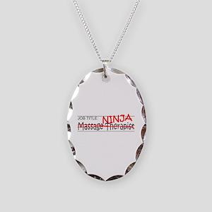 Job Ninja Massage Therapist Necklace Oval Charm