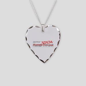 Job Ninja Massage Therapist Necklace Heart Charm