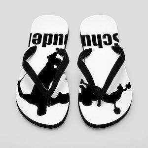 Black Schutzpudel Flip Flops