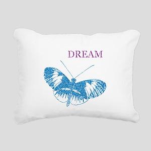 Aqua Dream Butterfly Rectangular Canvas Pillow