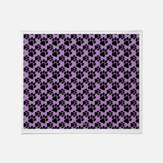 Dog Paws Light Purple Throw Blanket