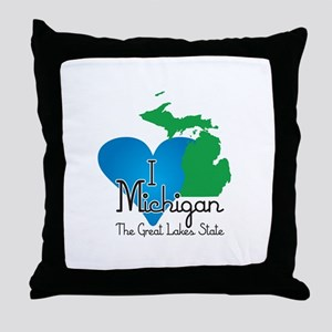 I Heart Michigan Throw Pillow
