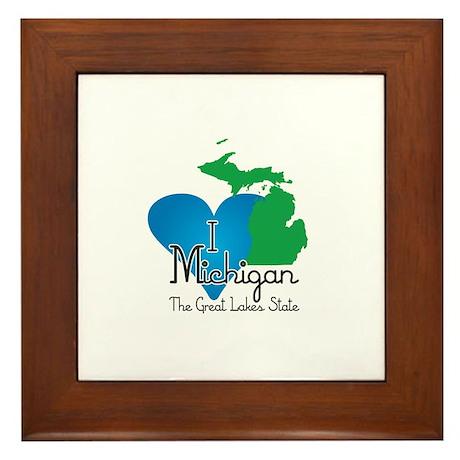 I Heart Michigan Framed Tile