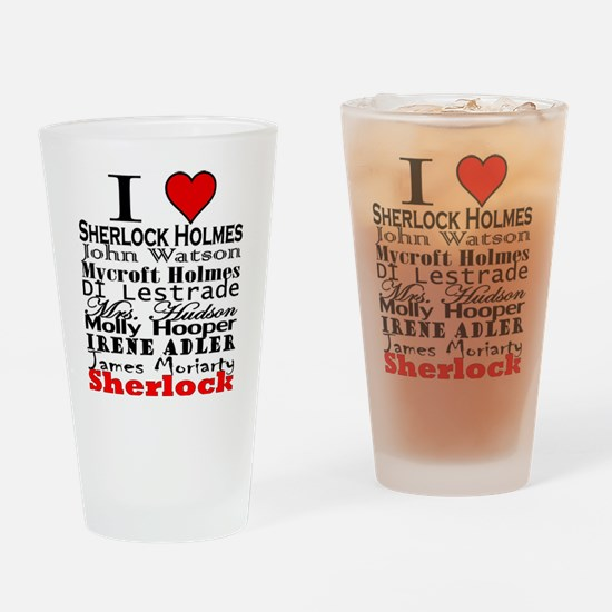 I Heart Sherlock Drinking Glass