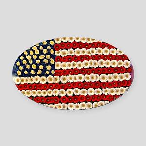 Flower Power US Banner Oval Car Magnet