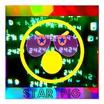 "Star Pig Disco Graphic Square Car Magnet 3"" x"
