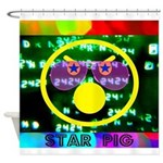Star Pig Disco Graphic Shower Curtain