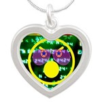 Star Pig Disco Graphic Silver Heart Necklace