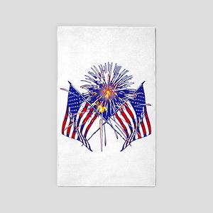 Celebrate America fireworks 3'x5' Area Rug