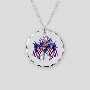 Celebrate America fireworks Necklace Circle Charm