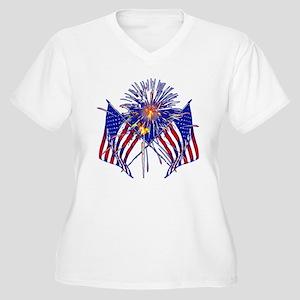 Celebrate America fireworks Women's Plus Size V-Ne