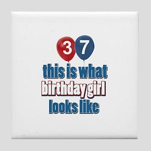 37 year old birthday girl designs Tile Coaster