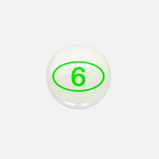 Number 6 Oval Mini Button