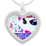Disco Fairy Drag Diva Silver Heart Necklace