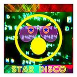 "Star Disco Graphic Square Car Magnet 3"" x 3&q"