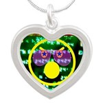 Star Disco Graphic Silver Heart Necklace