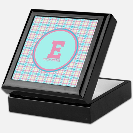 Monogram Pastel Plaid Keepsake Box