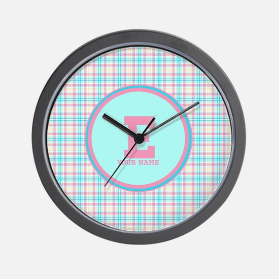 Monogram Pastel Plaid Wall Clock