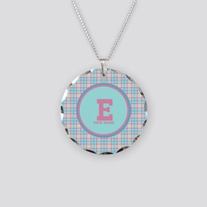 Monogram Pastel Plaid Necklace Circle Charm
