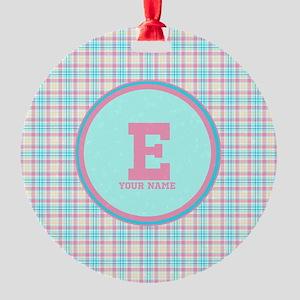 Monogram Pastel Plaid Round Ornament