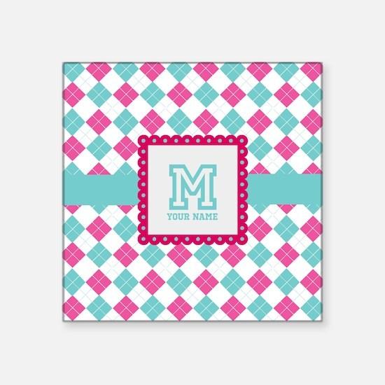 "Personalized Monogram Argyle Square Sticker 3"" x 3"