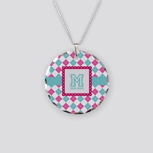Personalized Monogram Argyle Necklace Circle Charm