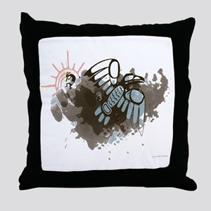 Kokopelli and the Raven Throw Pillow