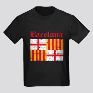 Bacelona flag designs Kids Dark T-Shirt