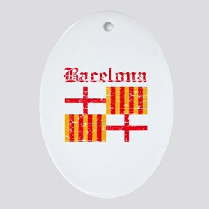 Bacelona flag designs Ornament (Oval)