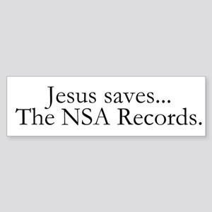 Jesus Saves The NSA Records Sticker (Bumper)