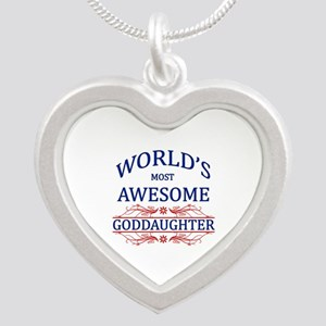World's Most Awesome Goddaughter Silver Heart Neck