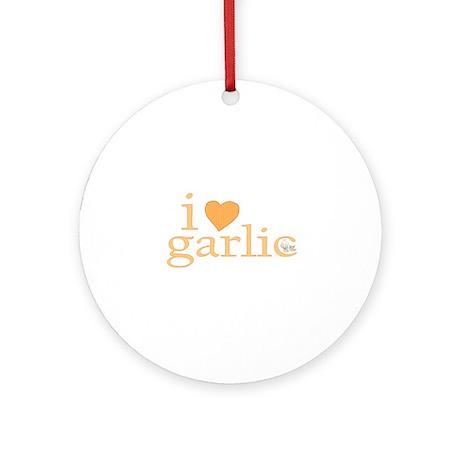 I Love Garlic Ornament (Round)