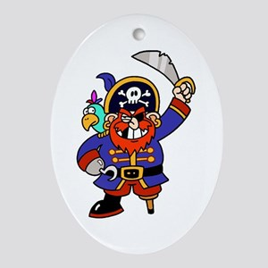 Peg Leg Pirate Ornament (Oval)