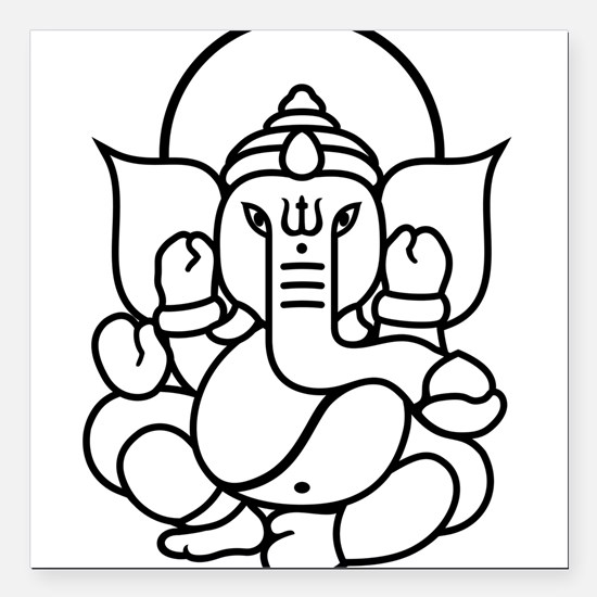 "Ganesh Ganesa Ganapati 03_2c Square Car Magnet 3"""
