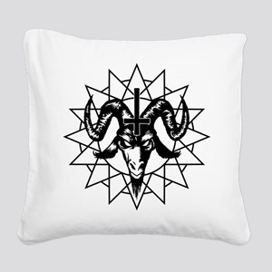 Satanic Goat Head with Chaos Star Square Canvas Pi