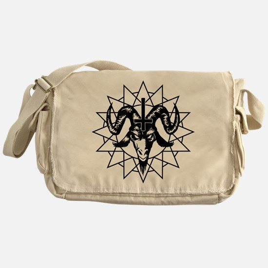 Satanic Goat Head with Chaos Star Messenger Bag