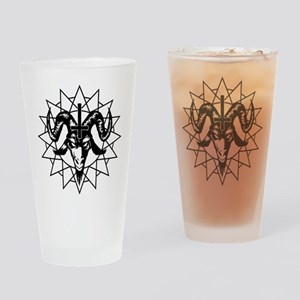 Satanic Goat Head with Chaos Star Drinking Glass