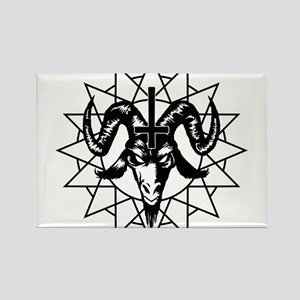 Satanic Goat Head with Chaos Star Rectangle Magnet