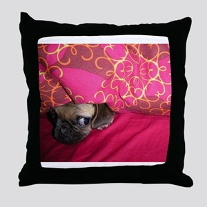 Sneaky Pug is Watching You Throw Pillow