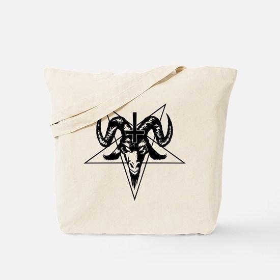 Satanic Goat Head with Pentagram Tote Bag