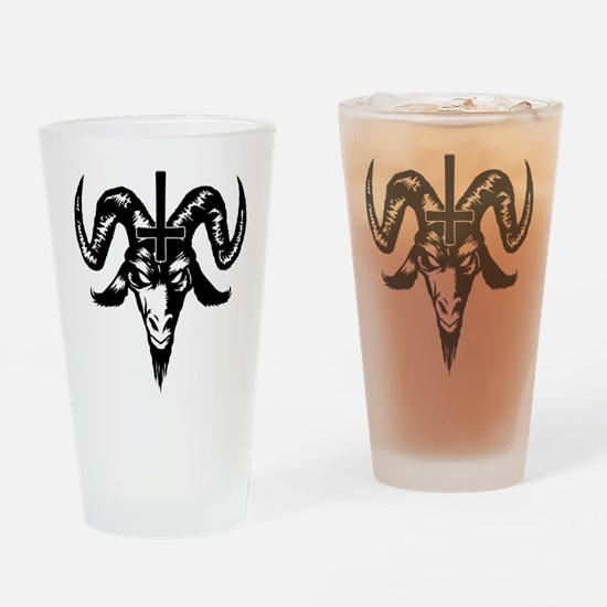 Satanic Goat Head with Cross Drinking Glass