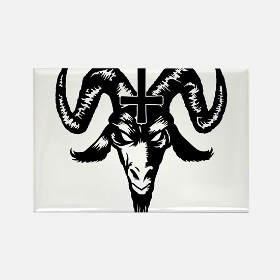 Satanic Goat Head with Cross Rectangle Magnet