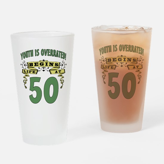 Life Begins At 50 Drinking Glass