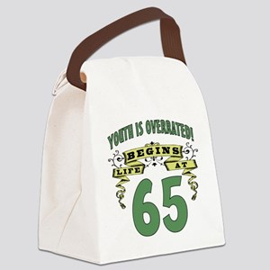 Life Begins At 65 Canvas Lunch Bag