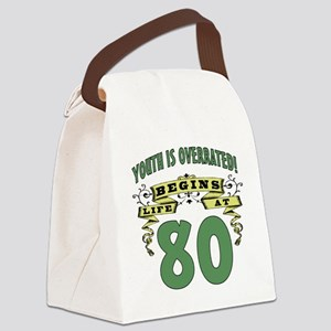 Life Begins At 80 Canvas Lunch Bag