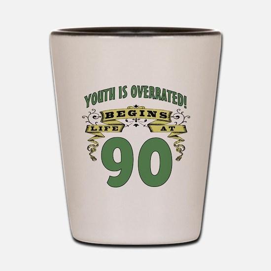 Life Begins At 90 Shot Glass